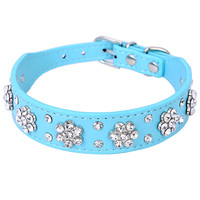 New Cute Bling Rhinestone Flowers Dog Collar Diamante Small Pet Cat Puppy PU Leather Collar Necklace Buckle Size S M XQ076
