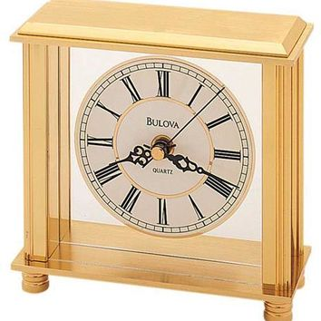 Bulova Cheryl Desk Clock - Brass Tone - Floating Metal Dial
