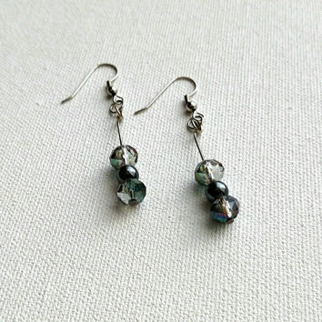 Gray faceted handmade beaded earrings, lightweight, catches the light beautifully.