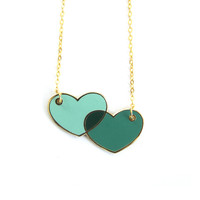 Overlapping Hearts Enamel Necklace