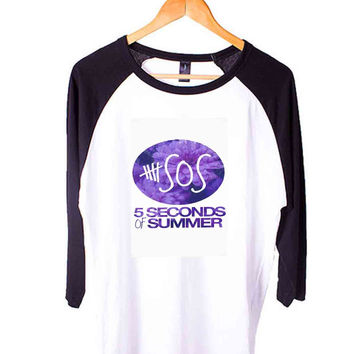 5 Seconds of Summer 5Sos Short Sleeve Raglan - White Red - White Blue - White Black XS, S, M, L, XL, AND 2XL*AD*