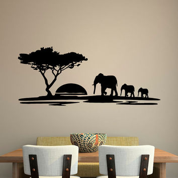 Animal Wall Decal Safari Elephant Decals- Safari Wall Decal- Jungle Wall Decal- Wild Animals Elephant Wall Decal Bedroom Nursery Decor C129