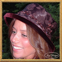 "Handmade Brown Damask Subtle Leaf Pattern Fabric Woman's ""Slouch Cloche"" Vintage Hat with Brown Velvet Lining, with Hatband of brown beads"