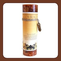 """"""" Courage"""" Pillar Candle with Picture Jasper Pendant Necklace"""