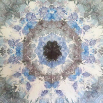 Mandala Tie Dye Tapestry in blue, grey and black wall hanging