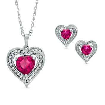 2.5 Carat Ruby & White Sapphire Heart Stud Earrings and Pendant .925 Sterling Silver Rhodium Finish