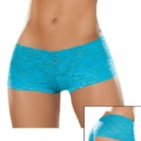 Sexy Turquoise Blue Lace Boy Shorts Panties