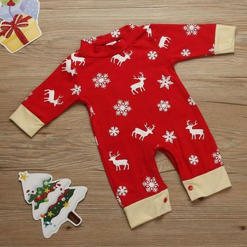 MUQGEW Christmas Deer Printing Romper Newborn Girls Boys Jumpsuit Baby Clothes China Pajamas Outfits Conjunto Infantil 11.11