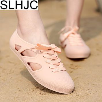 2018 Summer Jelly Shoes Flat Heel Candy Color Sandals Lace Up Closed Toe Flats Shoes Durable Wear