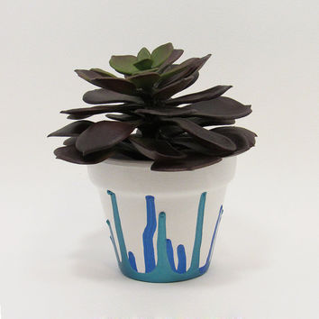 Terracotta Pot, Succulent Planter, Cute Planter, Small Pot, White Planter, Air Plant Holder, Indoor Planter, Succulent Pot, Blue Planter