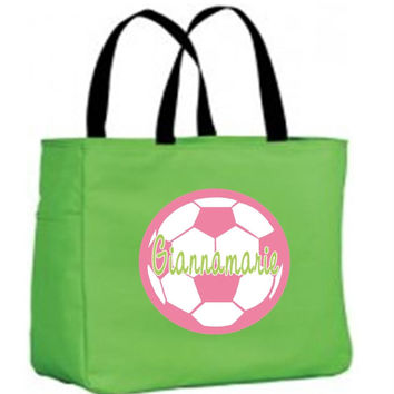 Pink Soccer Ball on Personalized Green Tote Bag