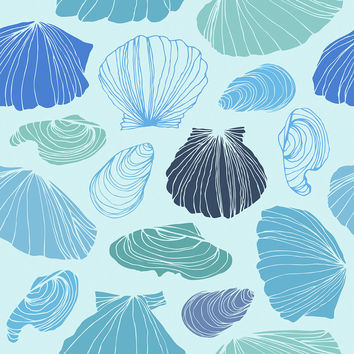 Turquoise Shells Removable Wallpaper