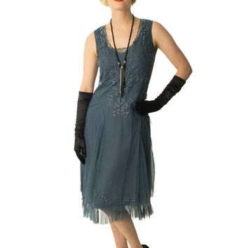 1920s Inspired Steel Blue Embroidered Tulle Dress