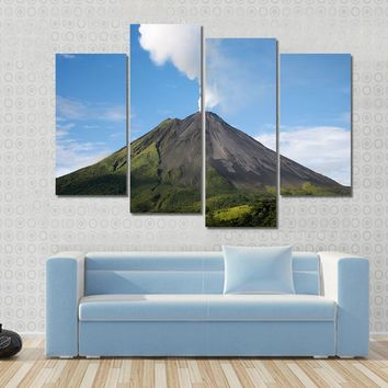 Arenal Volcano In Costa Rica With A Plume Of Smoke Multi Panel Canvas Wall Art