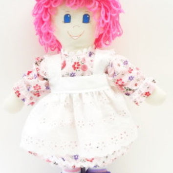 handmade Rag Doll cloth body girl ragdoll soft fabric toy pink hair purple Mary Janes NF199