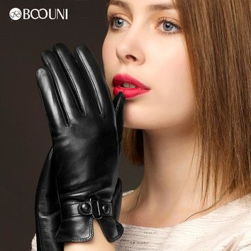 BOOUNI Genuine Leather Gloves Fashion Trend Women Sheepskin Glove Thermal Winter Plus Velvet Leather Driving Gloves NW745