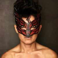Phoenix bird mask black leather look double sided mask with printed patterns in red