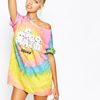 UNIF Oversized Boyfriend T-Shirt With Cat Squad Print On Rainbow Back
