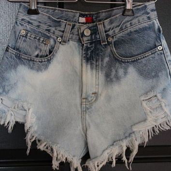 "High Waisted Jean Shorts Denim Vtg 80's 24"" X-SMALL Tommy Hilfigure SHRed Bleached Reworked Upcycled Jean Shorts"