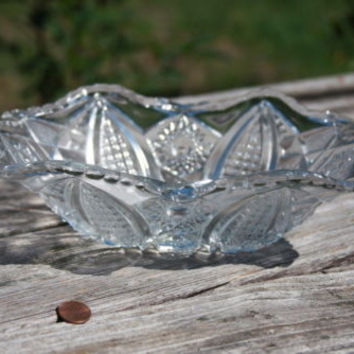 Vintage Pressed Glass Clear Bowl Scalloped Edges