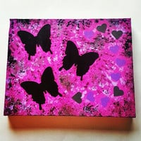 Butterflies and hearts fashionable original acrylic canvas painting for trendy baby girls nursery