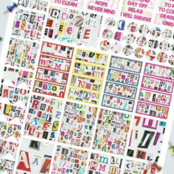 ransom notes planner stickers printable letters magazine cutouts decal clip art agenda organizer instant download digital lasoffittadiste