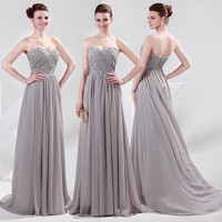 US STOCK Strapless Bridesmaid Prom Evening Cocktail Formal Party Gown Long Dress
