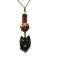 Wolf Charm With Wood Agate And Serpentine Jasper, 17 Inch Necklace With Extender