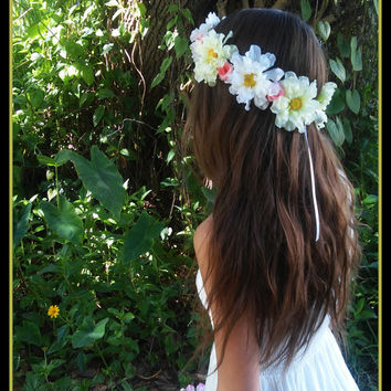 flower, crown, wild, flowers, colorful, pink, multi, color, festival, coachella, hippie, child, adult, bridal, girl, wedding, daisy, rustic