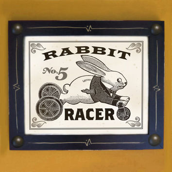 Rabbit Art Print Old Toy Black and White Framed Wall Art by DexMex