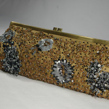 Gold Beaded Evening Bag Santi Bugle Beads Rhinestone Sequin Gold SilverbBride or Mother of The Bride 1950's 1960s Couture Clutch