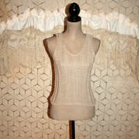 Beige Knit Tank Top Cropped Sweater Vest Sleeveless Cotton Linen Sexy Knit Tops Sweater Top Scoop Neck Express Small Medium Womens Clothing