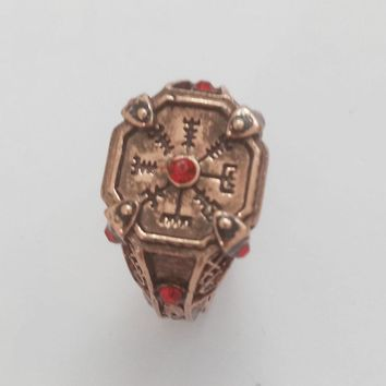 SG Newest God Of War 4 Kratos Rings Antique Copper Masons Symbol Temple of Heaven Ring Mask Knife Axe Men Lady Keyring Jewelry