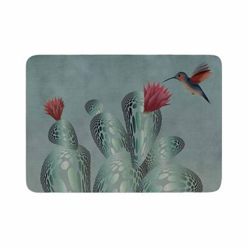 "Angelo Cerantola ""Hummingbird And Cactus"" Green Red Animals Floral Illustration Painting Memory Foam Bath Mat"