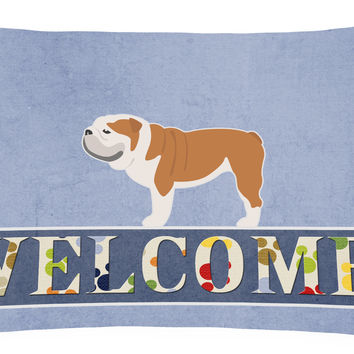 English Bulldog Welcome Canvas Fabric Decorative Pillow BB5566PW1216