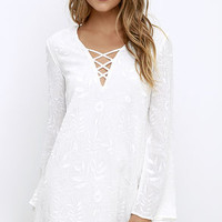 Graceful Stride Ivory Embroidered Shift Dress