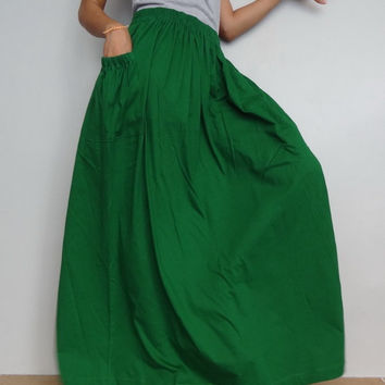 Women Maxi Long Skirt , Casual Gypsy, Bohemian , Cotton Blend In Glass Green (Skirt *M12.9).