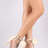 Qupid Pom Pom Lucite Peep Toe Ankle Booties