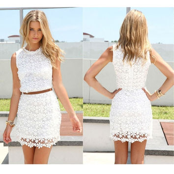 Women Summer Sleeveless Round Neck Lace See Through Slim Fit Over Hip Dresses Short Mini Skirt S-XL = 5618496513