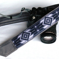 Native American Camera Strap (inspired). DSLR Camera Strap. Black White Gray Camera Strap. Camera Accessories