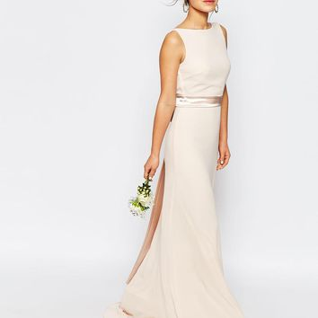 TFNC Petite | TFNC Petite WEDDING Sateen Bow Back Maxi Dress at ASOS