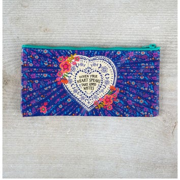 Natural Life Recycled Zipper Bag - Heart Speaks