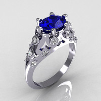 Modern Edwardian 18K White Gold 1.0 Carat Oval Blue Sapphire Bridal Ring R147-18WGDBS