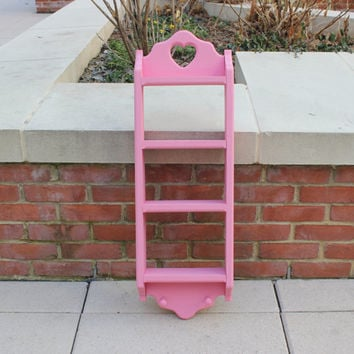 Tall pink wood shelf display unit with heart cut-out - Heart decor, pink decor, knick knack shelf, baby's room decor, kids furniture