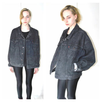 black LEVIS denim jacket vintage 90s OVERSIZED relaxed fit baggy UNISEX faded grey jean jacket os large