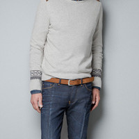 SWEATER WITH SHOULDER APPLIQUÉS - Knitwear - Man - ZARA United States