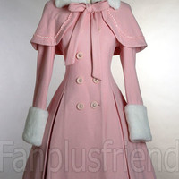 Dolly Sweet Lolita:Thick Wool & Fur Coat with Cape