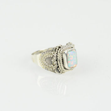 Sterling Opal Ring Sz 5.75 L Healing Rock Stone Rings Boho Gypsy Ring Hippie Ring Buddha Ring Tibetan Jewelry Ohm Ring Moonstone Rings