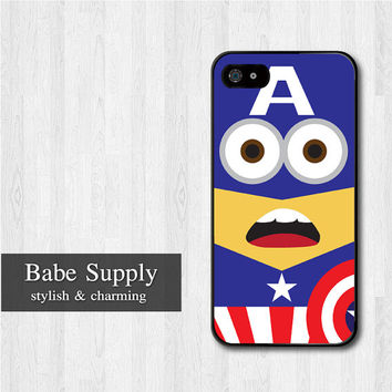 Captain America Minion iPhone 5 case, Disney iPhone 5 hard case, Despicable Me cover skin case for iphone 5 (Hard / Rubber case for choice)