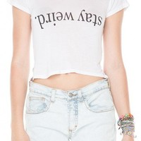 Brandy ♥ Melville    Carolina Stay Weird Top - Graphic Tops - Clothing